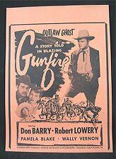 1950 Gunfire Old Movie Poster Broadside Don Barry Robert Lowery Pamela Blake