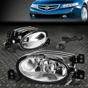 FOR 06-08 ACURA TSX CLEAR LENS FRONT BUMPER DRIVING FOG LIGHT LAMPS W/SWITCH