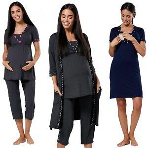 Zeta Ville Women's Maternity Nursing Pyjama Set Nightshirt Gown Robe 003