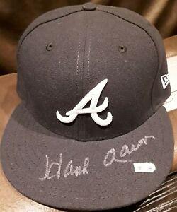 HANK AARON AUTHENTIC 715 40TH ANNIVERSARY AUTO 1970s ATLANTA BRAVES HAT MLB HOLO