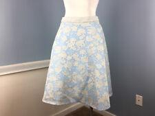 Catherine Malendrino Blue Gray Floral Full Circle Flare Burnout Skirt M 8 Career