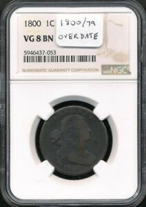 1800 80/79 Draped Bust Large Cent NGC VG 8 BN *Overdate!*