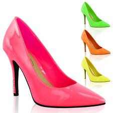 Mujer Brillante Fluorescente Neón Zapatos de Salón en Punta Tacón Alto Talla