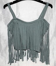 Supre Fringed Crop Top - Slate Grey - XS - Brand New with Tags!