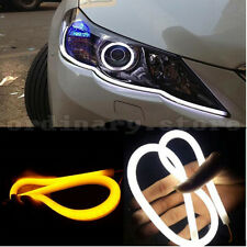 1 Pair 30cm Soft Flexible Guide Car LED Strip White DRL Amber Turn Signal Light