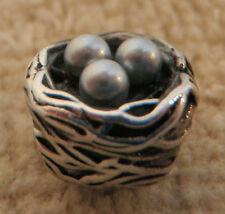 Chamilia ROBIN'S NEST Charm ~ Sim Pearl Eggs ~ Sterling Silver ~ Bead 4 Bracelet