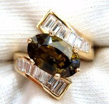 GIA Certified 8.92ct Natural Chrysoberyl Diamonds Bypass Ring 14kt+