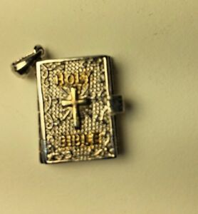 Vintage Sterling Silver 925 The Lords Prayer Holy Bible Charm