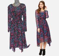 MONSOON Cornelia Foil Print Asymmetric Hem Long Sleeve Midi Dress 12  EU 40 £69
