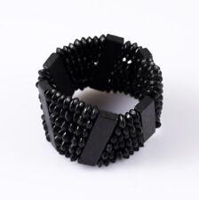 Men/Women Wood Beads Black Unlimited Multilayer Beaded Elastic Bracelet 0417