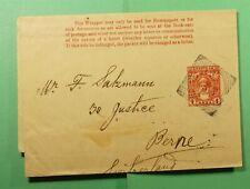 DR WHO 1902 ZANZIBAR STATIONERY WRAPPER TO SWITZERLAND  f51259