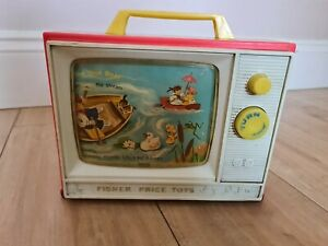 FISHER PRICE TOYS GIANT SCREEN MUSIC BOX TV SET VINTAGE 1966 TWO SONGS/STORIES