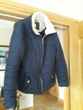 New Look Hudson Rose Fleece Lined Zip Up Jacket UK 12 navy