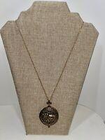 Ornate Filigree Gold Tone Vintage Design Elephant Locket Pendant Necklace Chain