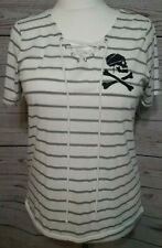 Disney Pirates of the Caribbean Top White Gray Stripe Lace Up Juniors Size XL