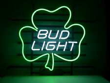 "Bud Light Shamrock Beer Pub Bar Neon Sign 17""x14"""