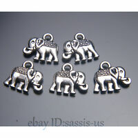50pcs 14mm Charms Cute Elephant pendant Diy Jewelry Necklace Tibet Silver A7027