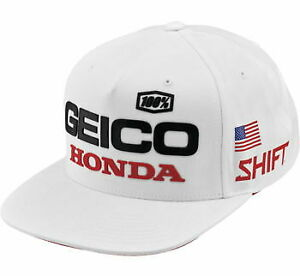 100% Men's Geico Honda Podium Hat - White - Adult OSFA