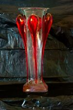ION TAMAIAN Art Glass Hand Blown Clear with Red Vase Romania New