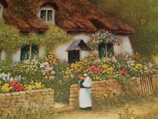 """R. THORNTON VINTAGE PRINT  """"COTTAGE BY THE RIVER""""  20"""" X 16"""" -  PERFECT!"""