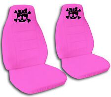 2 Hot Pink Girly Skull Velvet Seat Covers Universal Size