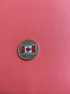 2015 Colour Canada 25 cent Coin Quarter 50th Anniversary of Canadian Flag