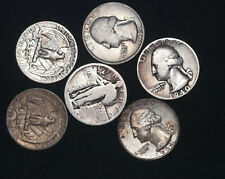 United States Silver Quarters Lot 6 Coins 1921-1964 US # 145 / 164  From 1$