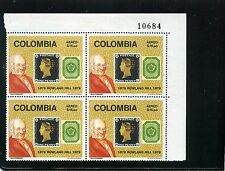 ROWLAND HILL, PENNY BLACK, COLOMBIA #1     BKLT OF 4 STAMPS-  1979  COLOMBIA