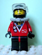 LEGO Minifig div015 @@ Divers - Red diver 2, Brown Bangs, Stubble 6441 6442