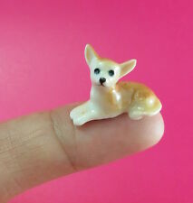 Adorable Chihuahua dogs puppy Miniature Handmade Collectible Ceramic figurine