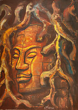 "Asian Original Wall Art Oil Painting-Canvas - Tree Buddha (80cm x 60cm) 31"" Tall"
