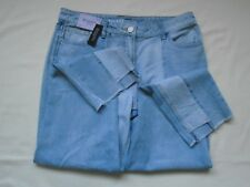 BNWT £32 NEXT Relaxed high rise pale denim blue raw cut ankle jeans UK 16 Long