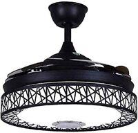 "42"" Ceiling Fan Light Remote Bluetooth Speaker LED 3 Light Retractable Blades"
