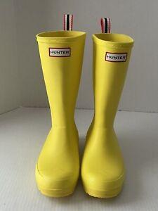 Hunter Original Play Boot Tall Wellington Yellow Rainboots Women's US 6 UK 4