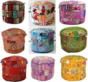 Pouff Cover Indian Patchwork Handmade Vintage Round Ethnic Ottoman Footstool