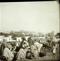MAROC Tanger le Marché 1904, Photo Stereo Grande Plaque Verre