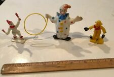 3 Vintage 1960's Plastic Clowns Cake Toppers Made in Hong Kong (G)