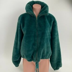 Victoria's Secret PINK Know One Cares Faux Fur Crop Full Zip Jacket Green L  NWT