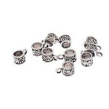 10pcs Bails Heart Patterned 5mm Hole Hanger Tibetan Silver Fit DIY 7*7mm