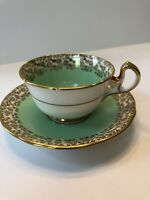 VINTAGE Royal Stafford Green & Gold Trim Tea Cup and Saucer #4460, England