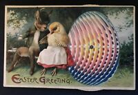 Dressed Rabbit & Chick on Bench~Mechanical~Kaleidoscope~Easter Postcard~-a898