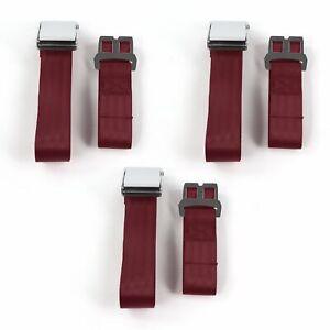 Chevy Impala 1961 - 1964 Airplane 2pt Burgandy Lap Bench Seat Belt Kit - 3 Belts