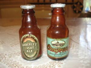Congress Beer & Haberle's Light Ale Vintage Miniature Glass Bottles Salt/Pepper