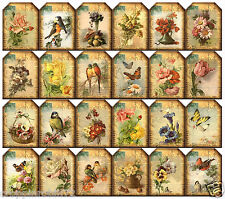 SMALL FLORAL POSTCARDS (24) SCRAPBOOK CARD EMBELLISHMENTS HANG/GIFT TAGS
