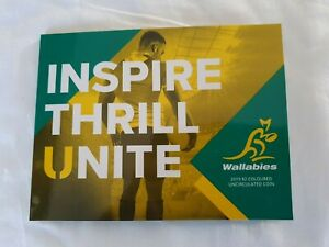 2019 $2 Wallabies Rugby World Cup 2 Dollar Coin in Official Folder x 2