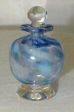 LUKIEN ART GLASS PERFUME BOTTLE HANDMADE IN CANADA  BLUE & WHITE W/APPLICATOR