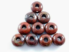 Natural Red Jasper Faceted Roundel Large Hole European Beads 8x14xmm 2 Pcs