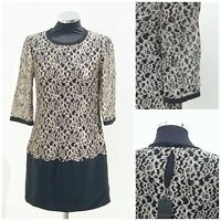 WOMENS Black Lace Shift dress by TED BAKER Size 1 UK 8 3/4 Sleeves BNWT Tunic