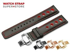 Black Red For TISSOT PRS516 Leather Watch Strap Band Clasp Rally Racing Holes