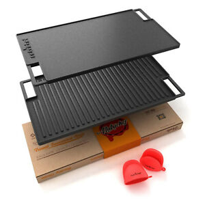 """NutriChef 18"""" Cast Iron Skillet Grill Plate Pan for Stove Top, Black (Open Box)"""